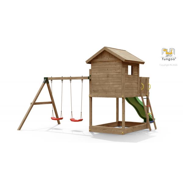 Drewniany plac zabaw GALAXY S z podwójną huśtawką