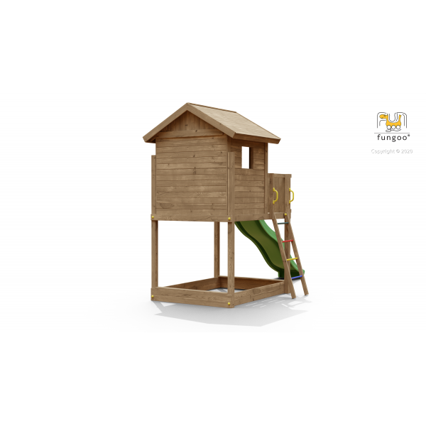 Drewniany domek na platformie Fungoo