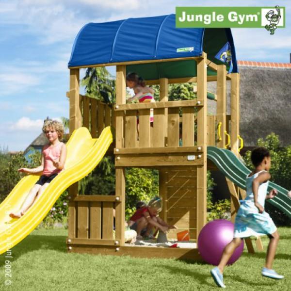 Plac zabaw Jungle Farm Jungle Gym z dwoma zjeżdżalniami