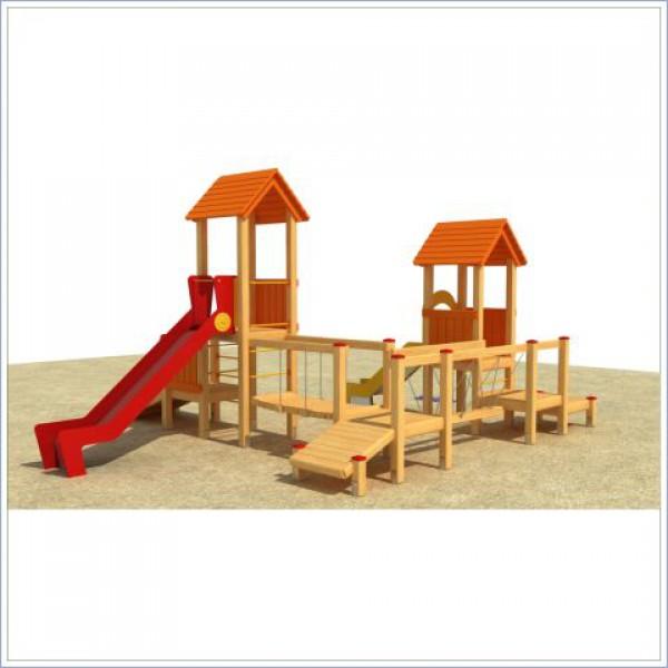 Plac zabaw z dwiema zjeżdżalniami Miś PROSYMPATYK