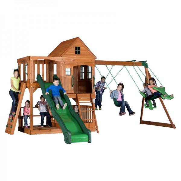 Ogromny Plac Zabaw Domek Huśtawka Zjeżdżalnia Piaskownica Backyard